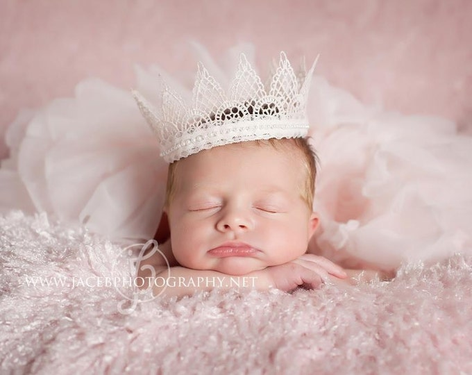 Vintage Baby Crown - Newborn Lace Crown - Newborn Photography Prop - Newborn Princess Crown