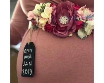 Maternity / Bridal Sash belt and Hair Clip Set, Maternity sash, Bridal sash, Victorian Floral sash, Flower Sash, Vintage Flower Sash