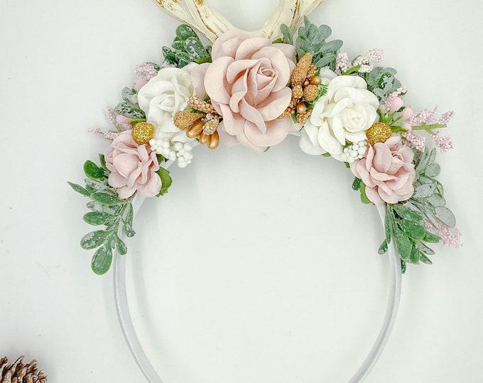 Reindeer Headband, Deer Headband, Fawn headband, Deer Antler Flower Crown, Newborn Flower Crown, Flower Crown, Pink and gold, Photo Prop