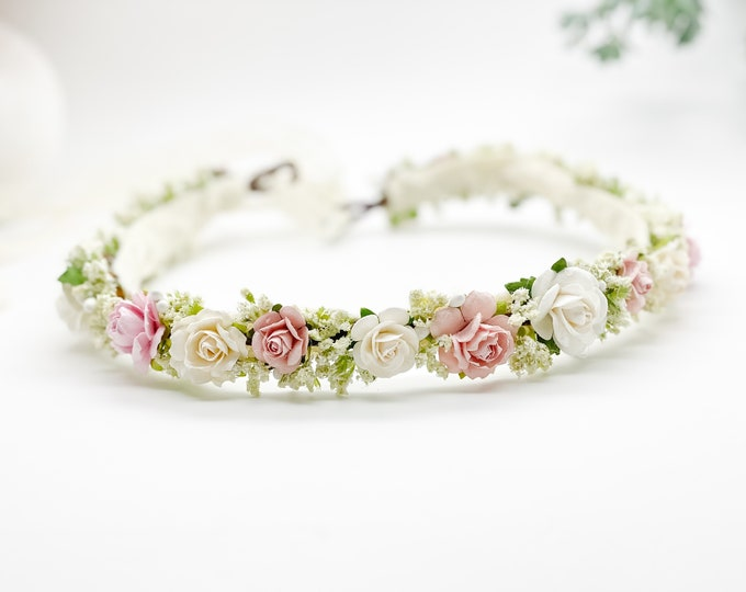Blush Flower Crown , Flower Girl Crown, Flower Crown, Newborn Flower Crown, Bridal Crown, Floral Halo, Wedding Crown, Boho Wedding, Pink