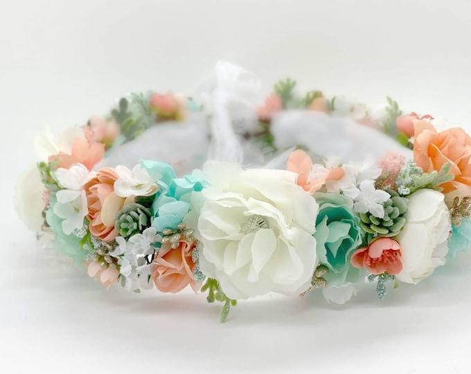 Flower Crown, Flowergirl Crown, Coral, Gold and Mint. Floral Crown