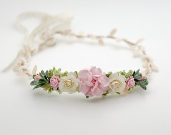 Pink Flower Crown , Flower Girl Crown, Flower Crown, Halo Flower Crown, Bridal Crown, Maternity Crown, Wedding Crown, Mommy and Me Crown
