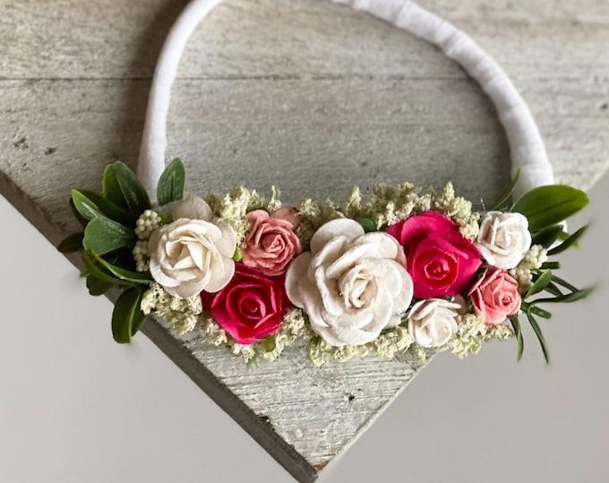 Pink and White Flower Headband, Newborn Flower Crown, Baby headband, Flower girl headband, Flower Crown, M2M Welldressed Wolf