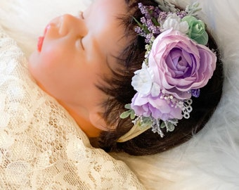 Lavender, Mint and Pink Flower Headband, Flower headband, Baby headband, Baby girl headband, newborn headband