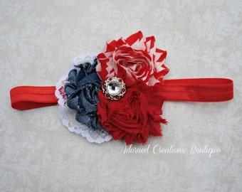 Red, White and Blue Baby headband, Christmas headband, 4th of July headband, toddler headband, baby gir headband Newborn Headband
