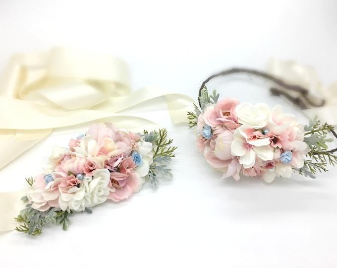 Maternity Sash, Bridal Sash, Flower Crown Set, Flower Girl Sash, Flower girl crown, Maternity Flower Crown, Flower Sash