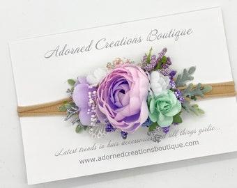 Flower Headband,  Lavender, Mint and Pink Flower Headband, Flower headband, Baby headband, Baby girl headband, newborn headband