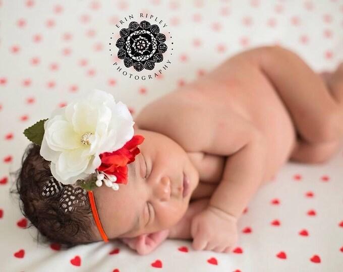 Christmas Newborn Headband - Baby Headband, Baby Flower Headband - Newborn Photo Prop - Flower Girls Headband - Baby Girl Headband
