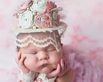 Vintage Pink and Cream Mini Top Hat for Newborn to Adult, Baby Crown Hat, Baby hats, girls hats, easter hats, baby girl hats