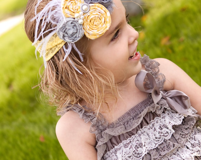 The Madeline Gray and Yellow Vintage Headband, Girls Headband, Baby Headband