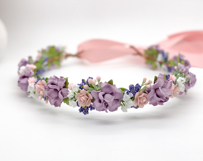 Pink and Lavender Purple Flower Crown , Flower Girl Crown, Flower Crown, Halo Flower Crown, Bridal Crown, Maternity Crown, Wedding Headpiece