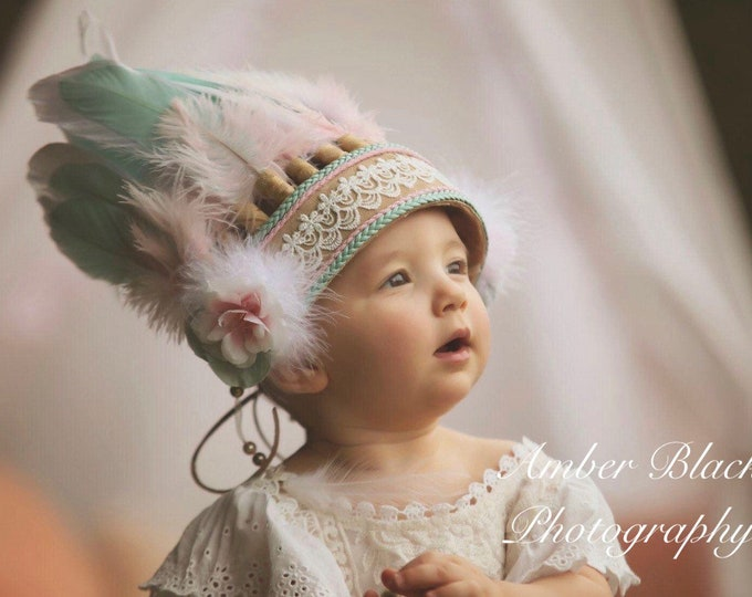 Feather Headpiece, Pink and Mint Feather, Baby Costume, Children Feather Headband, Kids Costume, Pink  Feather Headband, baby feather crown,