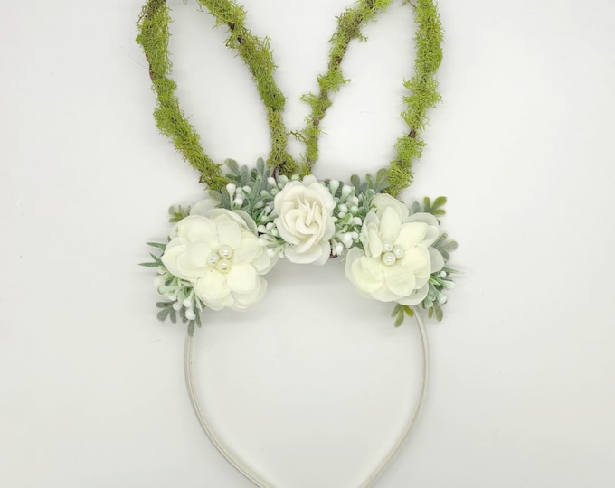 White Neutral Colors Bunny ears Headband,Baby Bunny ears headband,Girls bunny ears headband,white bunny ears headband, Easter Bunny headband
