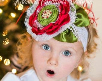 Christmas Headband, baby headband, girls headband, adult headband, red and green headband