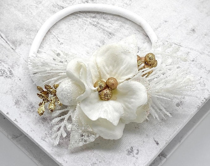 White and Gold Flower Headband, White Christmas Headband, White Flower Crown,Newborn Flower Crown, Baptism Headband,Flower girl headband,Bri