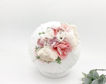Newborn headband, Pink and Cream, Girls headband, Baby headband, Nylon headband, Flower headband, Flower girl headband, floral headband
