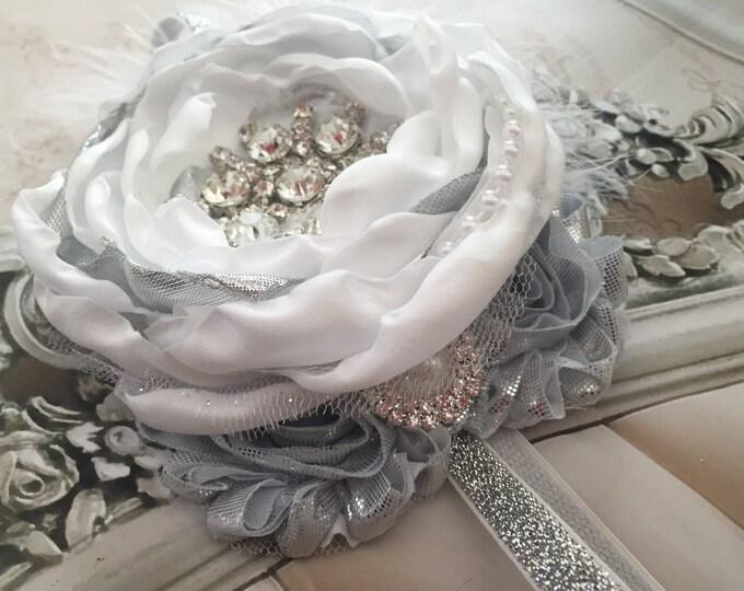 Christening, Holiday, Christmas Headband White and Silver Satin Singed Flower Headband