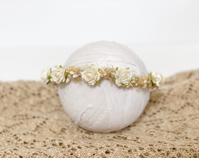 Newborn Flower Crown,Baby Flower Crown, Floral Crown, Newborn props, Natural flower crown, Organic flower crown