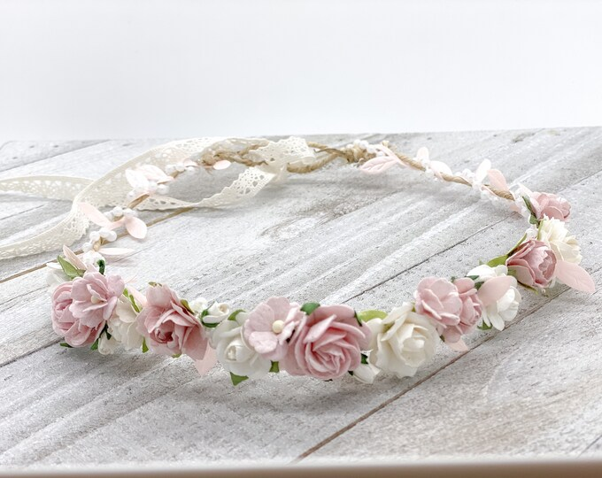 Blush Flower Crown , Flower Girl Crown, Flower Crown, Halo Flower Crown, Bridal Crown, Maternity Crown, Wedding Crown