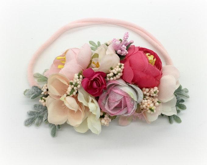 Newborn headband, Mixed pink, Girls headband, Baby headband, Nylon headband, Flower headband, Flower girl headband, pink floral headband