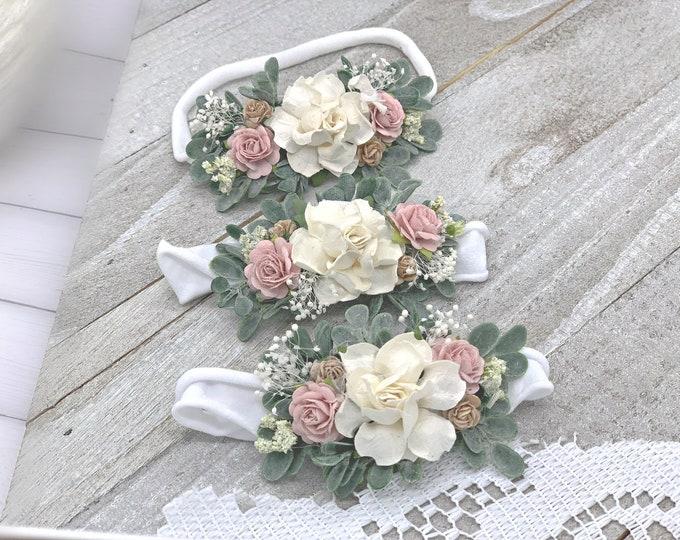 Blush Ivory Taupe Flower Headband, Newborn Flower Crown, Newborn Headband, Blush Ivory baby headband, Flower girl headband