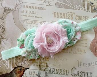 Baby Headband, Mint green pink Shabby Headband, Shabby Chic headband, baby headbands, baby girl headband, toddler headband