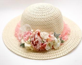 Easter Bonnet, Girls easter bonnet, Girls Blush pink and Ivory bonnet, Girls Easter hat, Girls tea hat, girls wedding hat, tea party hat