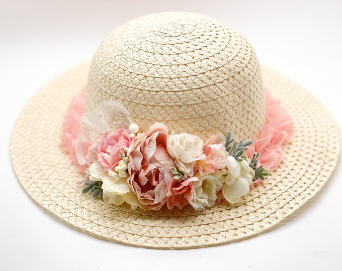 Easter Bonnet, Girls easter bonnet, Girls Blush pink and Ivory bonnet, Girls Easter hat, Girls tea hat, girls wedding hat, tea party hat