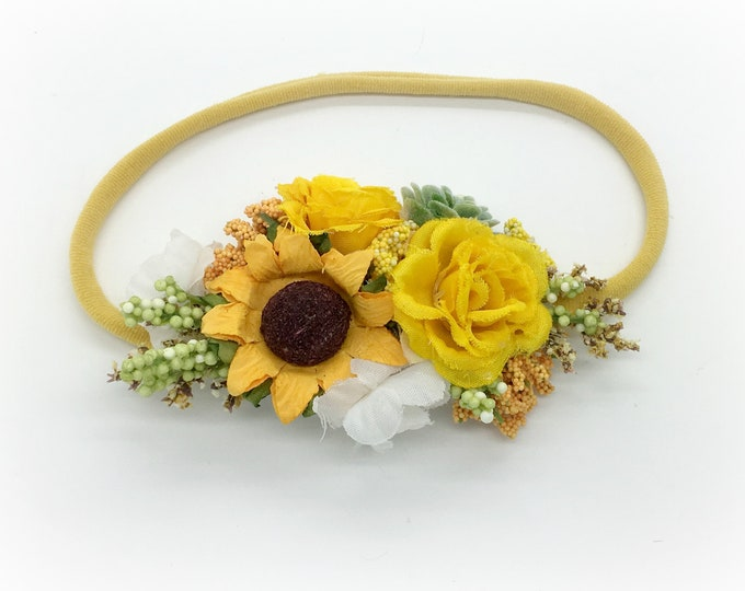 Sunflower Headband - Yellow Headband - Baby Headband -  Newborn Headbands -  Girls Headband -  Flower Girl Headband