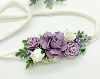 Lavender Floral Headband, Baby Flower Crown, Baby flower Headband, Flowergirl Headband, Bridal Headband