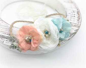 Boho Beach Headband - Tieback Flower Crown - Flower girl crown - Beach Wedding Headband - Girls Beach Headband