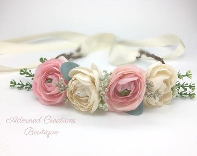Pink and cream flower crown, Flower Girl Crown, Maternity Crown, Flower Halo Headband, Photography Prop, Head wreath