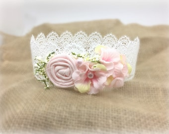 Vintage Lace Newborn Crown, Birthday Crown, Toddler Crown, Baby lace crown, Pink and White