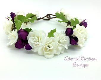 Cream and Plum Purple Flower Crown, Flower Girl Crown, Wedding Crown, Birthday Crown, Floral Crown, Flower Halo