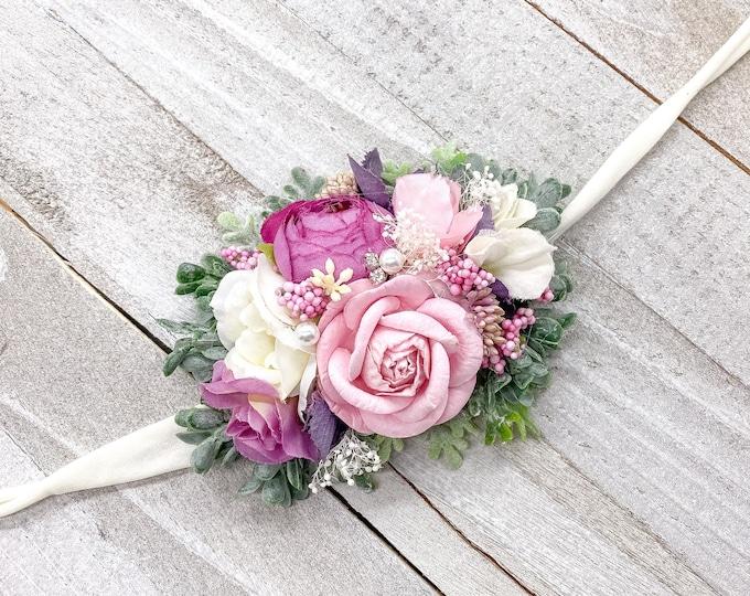 Newborn Headband - Purple and Pink Headband - Baby Headband - Flower Girl Headband - Toddler Headband - Floral Headband - tieback