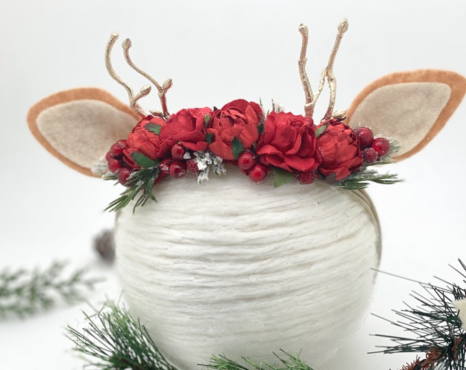 Reindeer Headband, Deer Headband, Fawn headband, Deer Antler Flower Crown, Newborn Flower Crown, Flower Crown, Red and green , Photo Prop