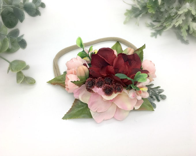 Burgandy and blush flower crown, flower headband, baby headband, girls headband, toddler headband, newborn headband, flower girl
