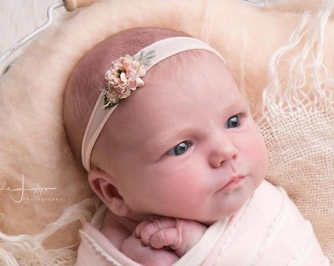 Petite blush pink Baby Headband, Newborn Headband, Nylon Headband, Baby Girls Headband, Newborn Flower Crown