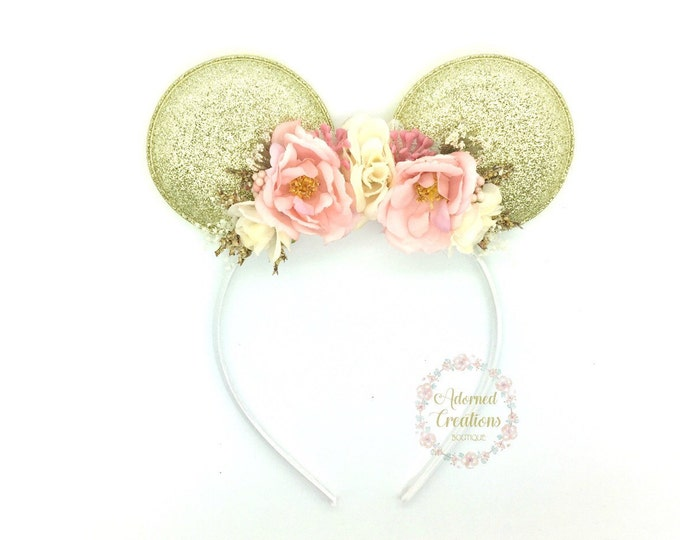 Pink and Gold Mouse Ears headband - Mouse Headband - Flower Crown - Birthday Headband - Theme Park Headband