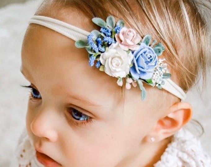Blush Pink and Blue Baby Headband - Girls Headband - Newborn Flower Crown - Flower Girl Headband - Wedding Headband - Flower Crown
