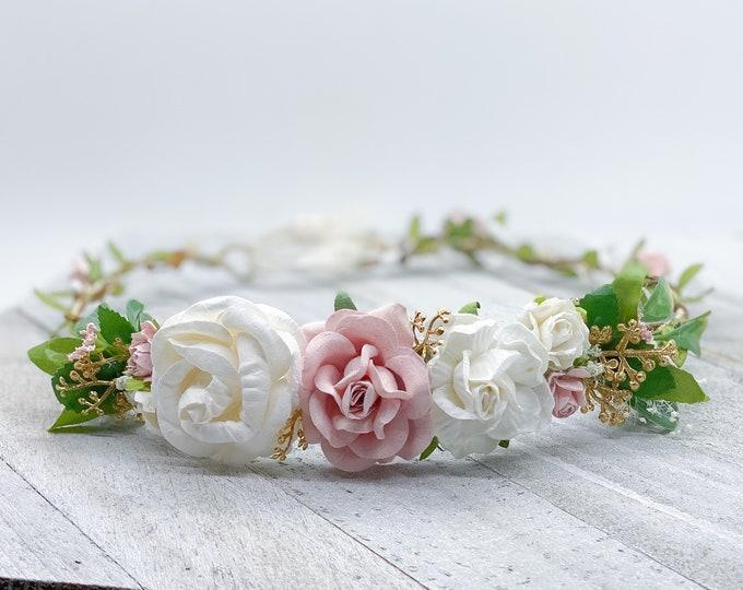 Blush and Gold Flower Crown , Flower Girl Crown, Flower Crown, Halo Flower Crown, Bridal Crown, Maternity Crown, Wedding Crown, Boho Wedding