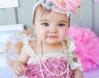 Pink and Gold Girls Headband,LA CREME DELIGHT,Baby Headband,Photography Prop,Birthday Headband, Baby Crown, Baby girls headband