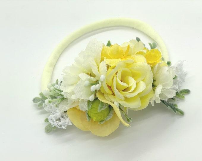 White and Yellow Flower headband, Flower crown, Newborn headband, baby headband, girls headband, flower girl crown, wedding crown, yellow