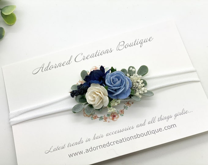 Blue Baby Headband - Girls Headband - Newborn Flower Crown - Flower Girl Headband - Wedding Headband - Flower Crown