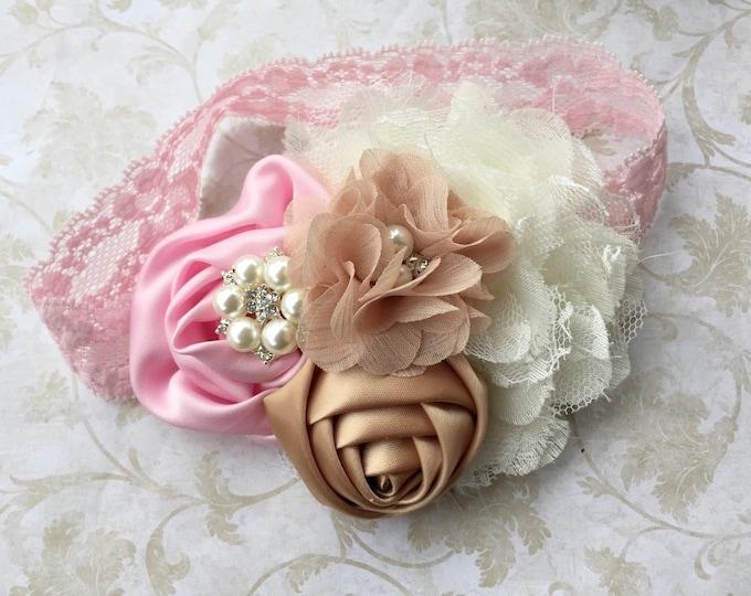 Vintage Headband, Baby Headband, pink cream and beige headband, girls headband