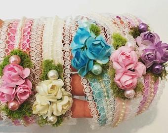 You Pick Color - Halo Flower Headband, Newborn Crown, Newborn Flower Halo headband, Baby Headband, Flower Crown, Flower Girl Halo