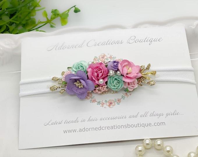 Pink, Purple, Aqua Flower Headband, Newborn Flower Crown, Baby headband,Flower Crown, M2M Love and Grow Birthday Dress, Spring Headband