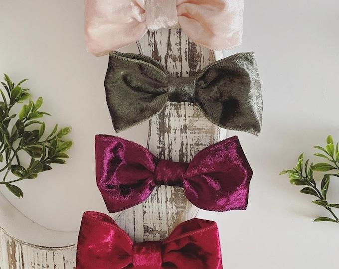 Christmas Holiday Velvet Bow Set - Red, Sangria, Vintage Green, Blush Pink