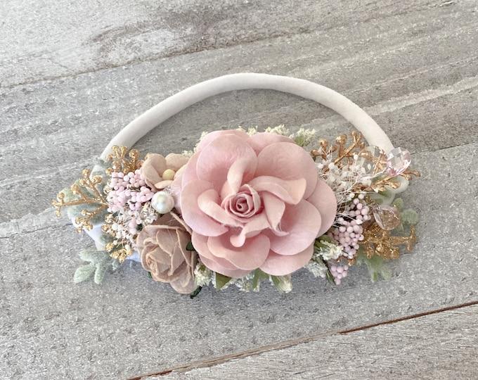 Blush and Gold newborn Headband,  flower crown, Crystal flower girl headpiece, Flower Girl Headband, Wedding Headband,Hair Clip