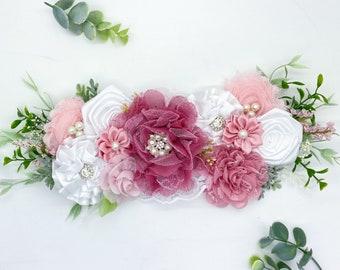 Maternity Sash, Bridal Sash, Flower Maternity Sash, Flower Bridal Sash,  Flower Girl Sash, Flower girl Gift, Maternity Flower Belt